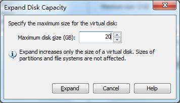 How to expand disk capacity for vmware linux virtual machine